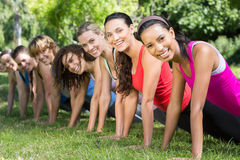 Fitness group planking in park Stock Image