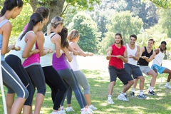 Fitness group playing tug of war Stock Images
