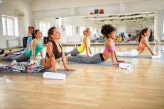 Fitness group train on mats. Fitness group of women train on mats at gym Royalty Free Stock Image