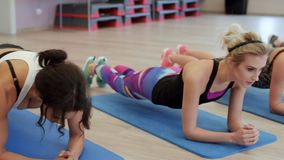 Fitness. Group of women training position planks