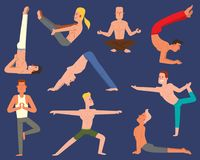Fitness group yoga man vector doing cobra pose in row at the yoga class. Lifestyle male body yoga man flat character. Fitness group yoga man doing cobra pose in Stock Image