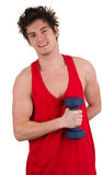 Fitness guy with a weight Stock Photos
