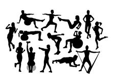 Fitness and Gym Activity Silhouettes stock image