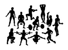 Fitness and Happy Gym Sport Activity Silhouettes stock photography