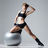 Fitness with gym ball Royalty Free Stock Image