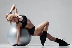Fitness with gym ball Stock Photos