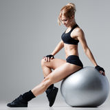 Fitness with gym ball Stock Image