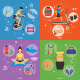 Fitness and Gym Banners. Fitness, Gym, Cardio, Yoga, Healthy Lifestyle Banners for Mobile Applications, Web Site, Advertising with Exercise Bike, Treadmill and Royalty Free Stock Images