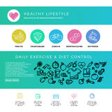Fitness, gym, cardio, healthy lifestyle, health food, web design template with thin line icons Royalty Free Stock Photos