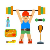 Fitness gym club vector icons. Royalty Free Stock Photos