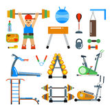 Fitness gym club vector icons. Sportsman silhouette, bicycle track, damn ladder, fitball Stock Photos