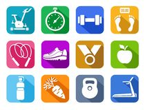 Fitness, gym, colored flat icons. Royalty Free Stock Photo