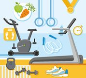 Fitness, gym, colored, flat illustration. Stock Images