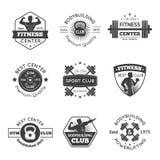 Fitness Gym Emblems Set. Fitness club and sport gym emblems set isolated vector illustration vector illustration