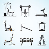Fitness gym equipment . Fitness gym equipment isolated on background, gymnasium sport fitness, athletics, healthy lifestyle,flat design Vector illustration Royalty Free Stock Image