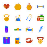 Fitness and gym flat icons set Stock Image