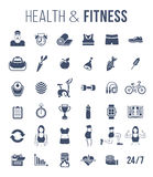 Fitness gym and healthy lifestyle flat silhouettes vector icons. Diet nutrition, shaping workout, fitness gear, personal trainer, sport clothes infographic Royalty Free Stock Image