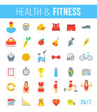 Fitness gym and healthy lifestyle flat vector icons Royalty Free Stock Images