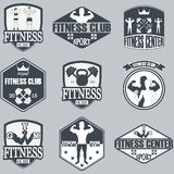 Fitness gym icons. Athletic labels and badges Royalty Free Stock Photos