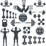 Fitness gym icons Stock Photos