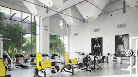 Fitness gym with an industrial setting. Stock Photos