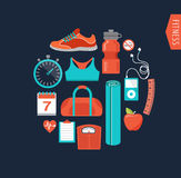 Fitness and gym line, flat icons Stock Images