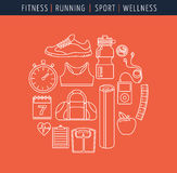 Fitness and gym line, flat icons Royalty Free Stock Photography