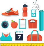 Fitness and gym line, flat icons Stock Photography