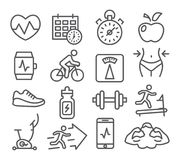 Fitness and Gym line icons. Set on white background royalty free illustration