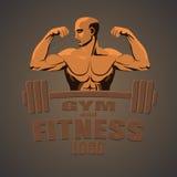 Fitness gym logo mockup bodybuilder showing biceps.  Royalty Free Stock Image