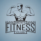Fitness gym logo mockup bodybuilder showing biceps outlined. Text Mens fitness club Stock Images