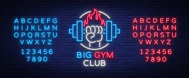 Fitness, gym logo sign in neon style isolated, vector illustration. A glowing banner, a bright neon sign, a night. Advertisement of a fitness club, a sports stock illustration