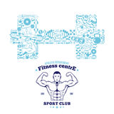 Fitness Gym Logo Template, Fitness Icons Pattern Royalty Free Stock Photos