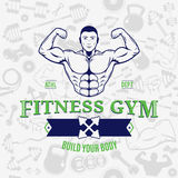 Fitness Gym Logo Template Over Fitness Icons Seamless Pattern Stock Photos