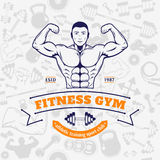 Fitness Gym Logo Template Over Fitness Icons Seamless Pattern Royalty Free Stock Image