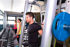 Fitness gym man multipower system weightlifting Royalty Free Stock Photo