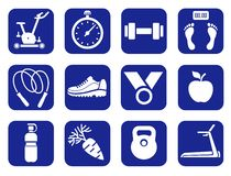 Fitness, gym, monochrome icons. Stock Photos