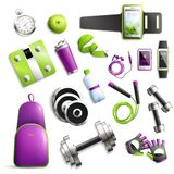 Fitness Gym Set. Fitness gym realistic set with equipment and accessories symbols isolated vector illustration Royalty Free Stock Photography