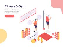 Fitness and Gym Room Illustration Concept. Isometric design concept of web page design for website and mobile website.Vector royalty free stock photo