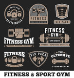 Fitness gym and sport club logo emblem design Royalty Free Stock Photos