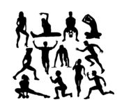 Fitness and Gym Sport Silhouettes stock image