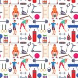 Fitness gym sporty club vector icons athlet and sport activity body tools wellness dumbbell equipment seamless pattern Stock Photos