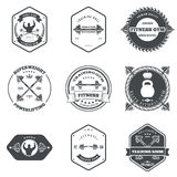 Fitness and Gym Themed Label Design Set Elements Royalty Free Stock Photos