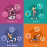 Fitness Gym Training 2x2 Icons Set Stock Images