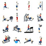 Fitness Gym Training Icons Set. Fitness icons set with men and women training in gym vector illustration vector illustration