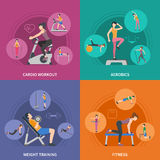 Fitness Gym Training 2x2 Icons Set Stock Images
