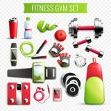 Fitness Gym Transparent Set. Fitness gym transparent realistic set with active time symbols  vector illustration Royalty Free Stock Photography