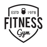 Fitness and Gym typographic hipster Themed Badge stock photo