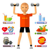 Fitness, gym vector logo design template. sport. A young man on a white background. vector illustration Stock Image