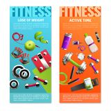 Fitness Gym Vertical Banners Set. With active time symbols realistic isolated vector illustration Royalty Free Stock Photos
